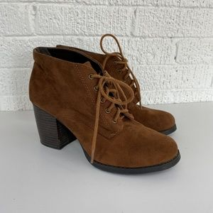 Soda brown faux suede heeled booties